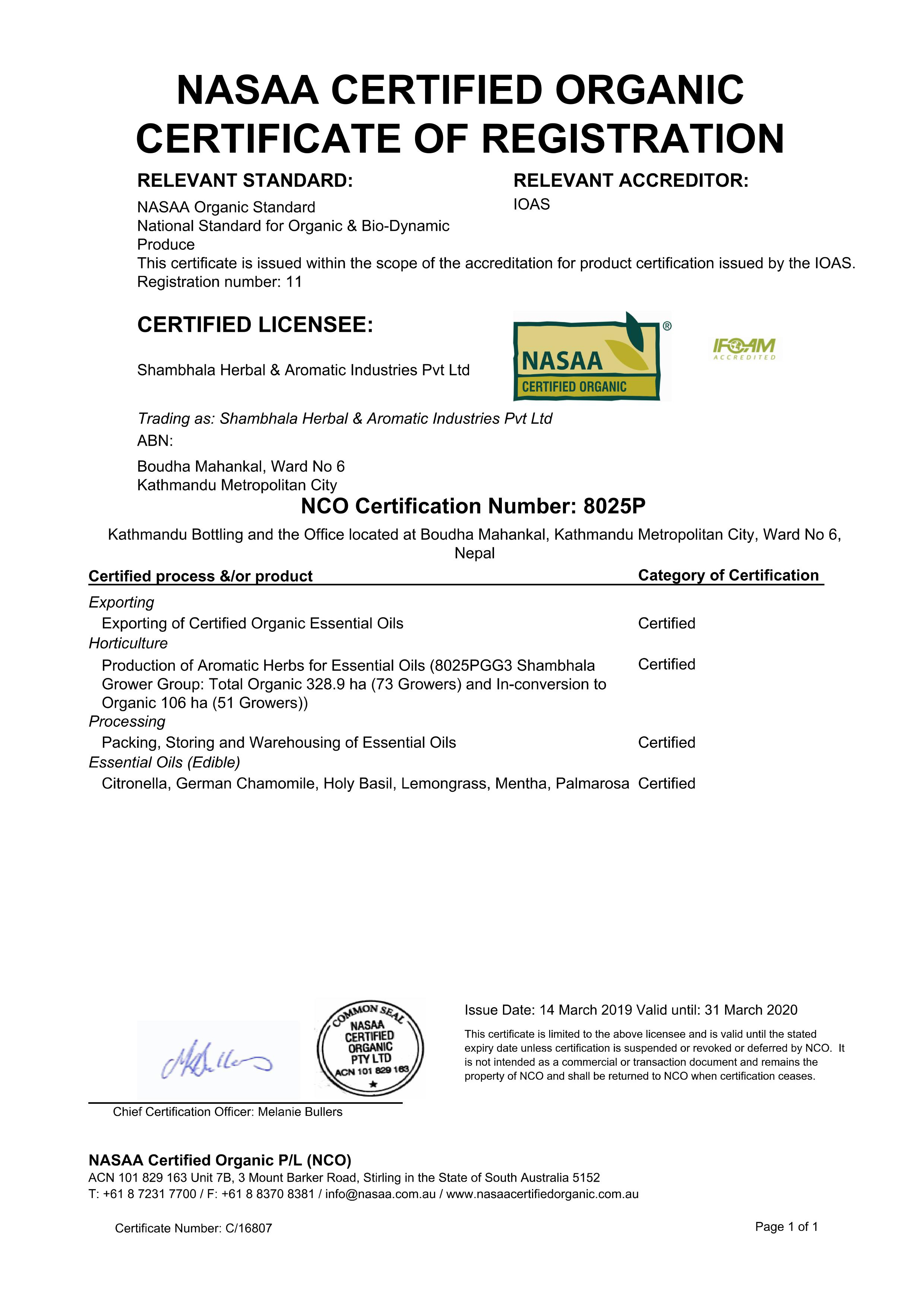 NASAA certificate